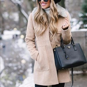 Loft faux fur utility collar coat